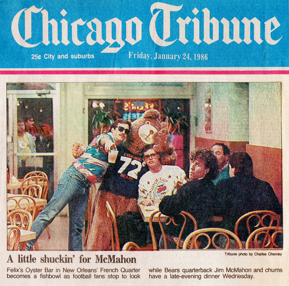 Chicago Tribune front page, Friday, January 24, 1986-db with Bears quarterback Jim McMahon in New Orleans' French Quarter