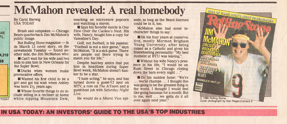 USA Today article featuring db's Jim McMahon article for Rolling Stone, 1986