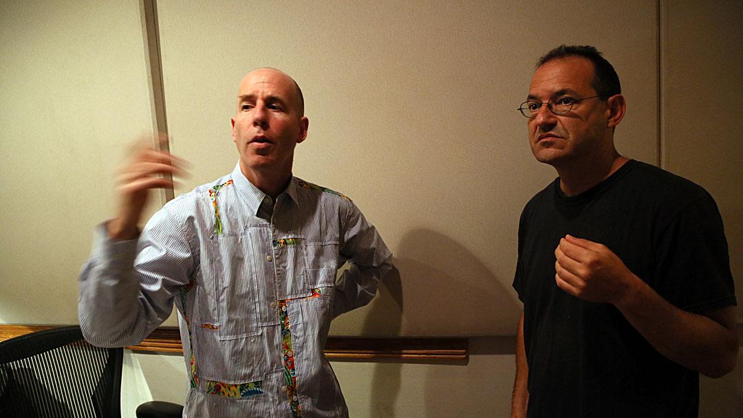 db and Ben Goldberg at Sear Sound, NYC, listening to playback