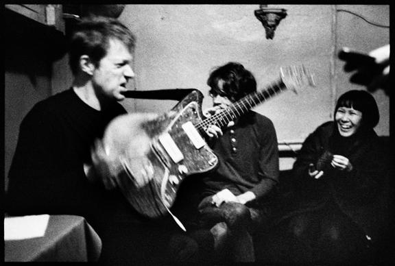 Nels backstage at Cafe du Nord with John Dieterich & Satomi Matsuzaki of Deerhoof